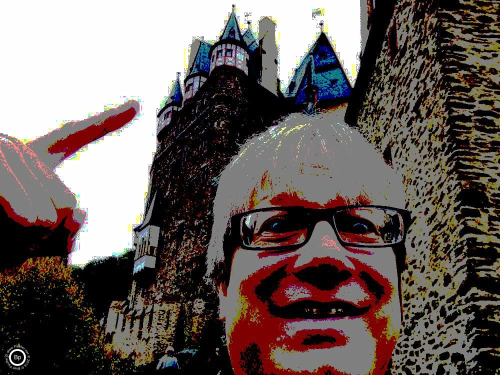 Me at a castle, see, where I'm pointing, I was there